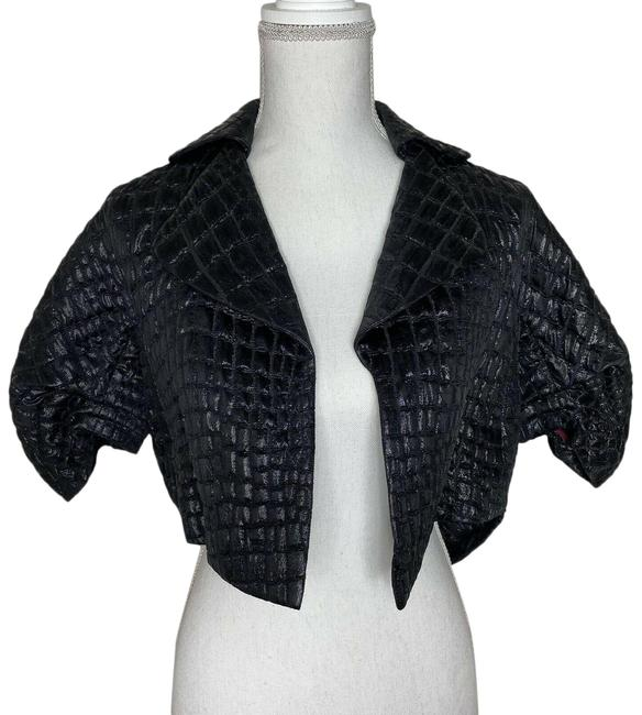 Item - Black Women Jacket Italy Nylon Animal Print Cropped Cardigan Blazer Size 4 (S)