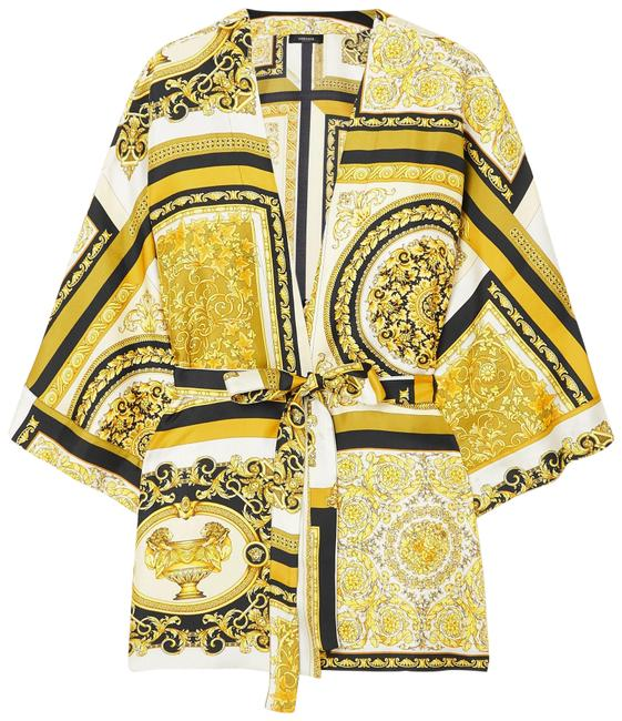 Item - Gold Belted Printed Silk-twill Robe Jacket Size 0 (XS)