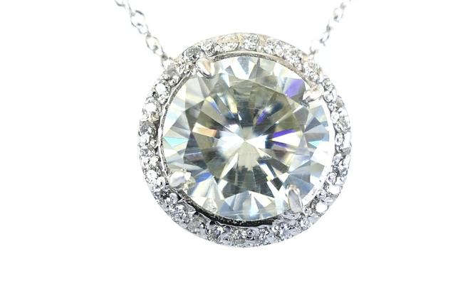 Item - White Certified Natural 7.3 Tcw Solitaire Pendant Necklace