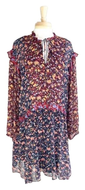 Item - Black Red Helene Tunic Ruffle Floral M Mid-length Short Casual Dress Size 8 (M)