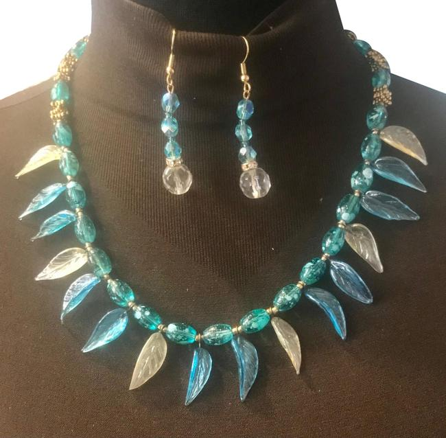 Item - Blue Exquisite Art Glass Crystals Earrings Necklace