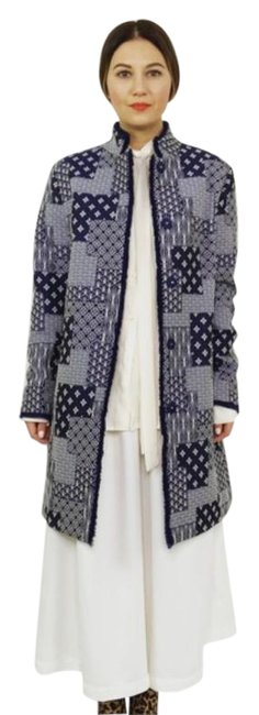 Item - Navy Blue Quilted Jacquard Long Jacket Size 12 (L)