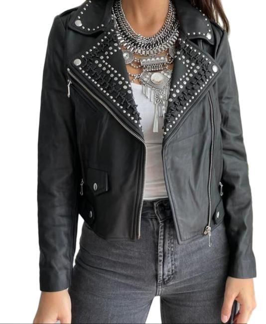 Item - Black Silver Wes Moto Small Jacket Size 4 (S)