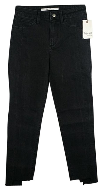 Item - Black Dark Rinse Taylor Hill Slim Straight Mid-rise Ankle Capri/Cropped Jeans Size 24 (0, XS)