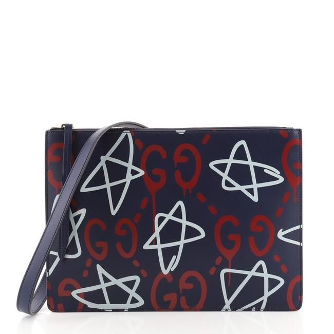 Item - Zip ghost Large Blue Print Leather Messenger Bag