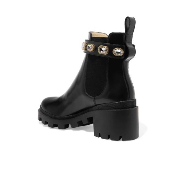 Item - Black Trip Gg Crystal Embellished Chelsea Leather 9.5 -10 Boots/Booties Size EU 40 (Approx. US 10) Regular (M, B)