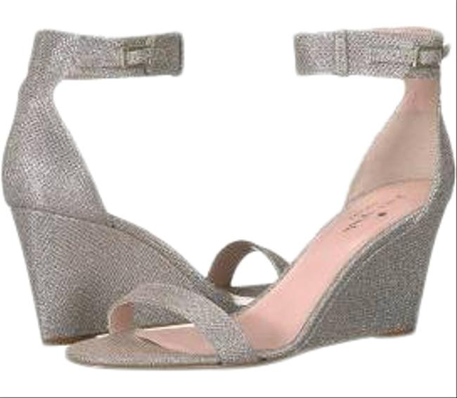 Item - Metallic Silver Ronia Grid Lurex Ankle Strap Wedge Sandals Formal Shoes Size US 11 Regular (M, B)