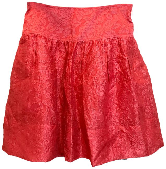 Item - Pink Bright Raspberry Jacquard Textured Pleated Skirt Size 0 (XS, 25)