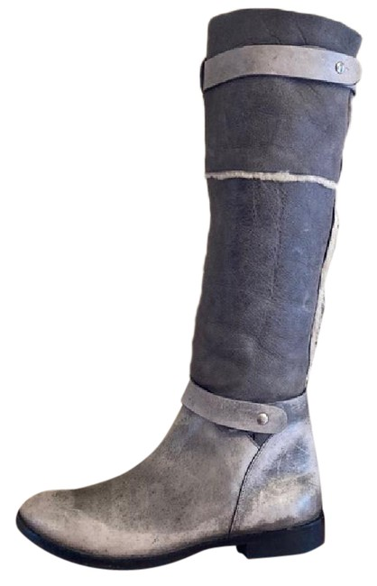 Item - Gray Distressed Leather Shearling Boots/Booties Size US 9 Regular (M, B)