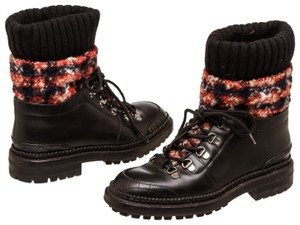 Chanel Black & Red Tweed Boots