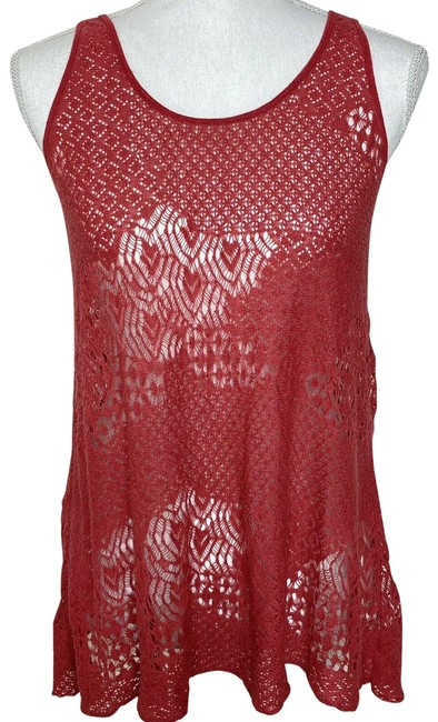 Item - Red Womens Woven Floral Print Lace Crochet Tank Top/Cami Size 4 (S)
