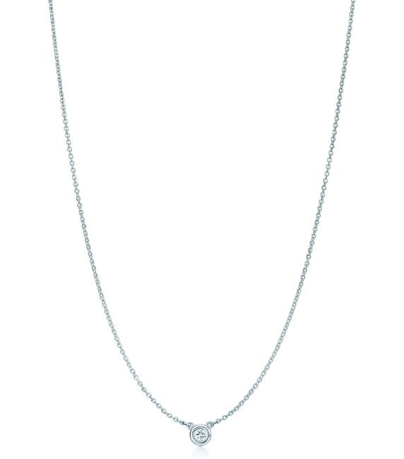 Item - Valentine's Day Silver Elsa Peretti Diamonds By The Yard Single Diamond Pendant Necklace