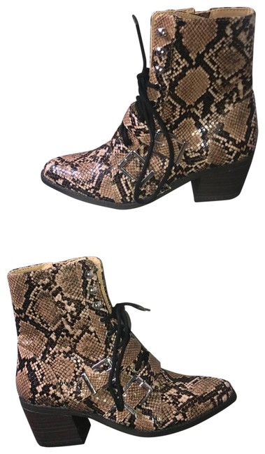 Item - Brown Snakeskin Print Lace Up Double Buckle Boots/Booties Size US 6 Regular (M, B)
