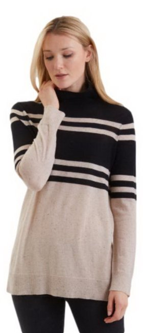 Item - Cashmere Turtleneck Black/Oatmeal Sweater