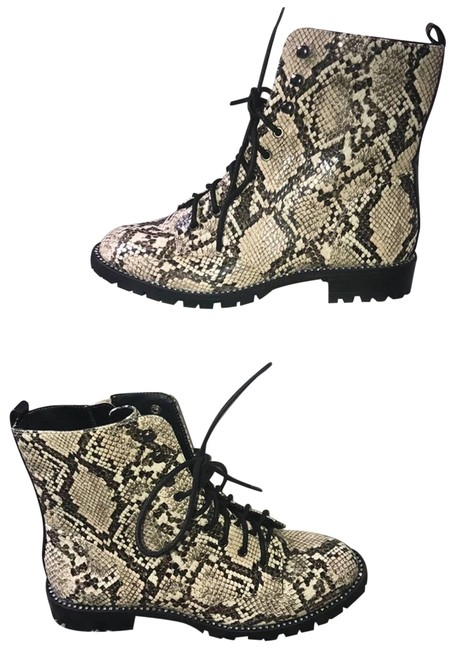 Item - Brown Women's Snakeskin Rhinestone Combat Lace Up Boots/Booties Size US 6 Regular (M, B)