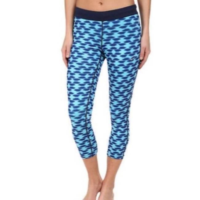 Item - Blue Dri Fit Relay Print Capri Small Tribal Workout Running Activewear Bottoms Size 4 (S, 27)
