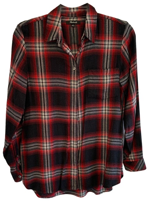 Item - Black Red Flannel Button-down Top Size 4 (S)