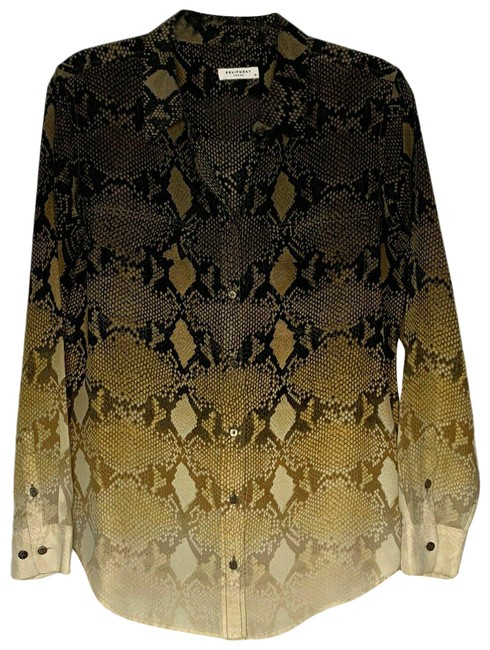 Item - Brown Multi Sheer Python Button-down Top Size 8 (M)