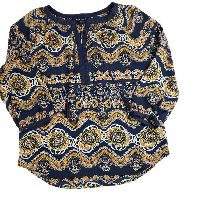 Item - Blue W Medallion Navy and Gold Peasant W/ Tassels| S Blouse Size 4 (S)
