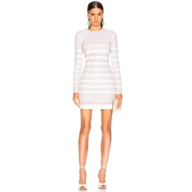 Item - White Striped Crystal Sequin Embellished Long Sleeve Mini Fr 36 Short Night Out Dress Size 4 (S)