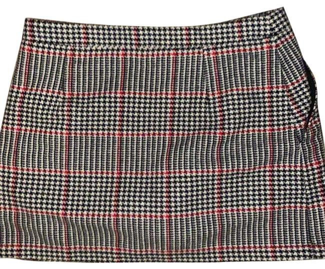 Item - Black White and Red Hounds Tooth with Accents Skirt Size 8 (M, 29, 30)