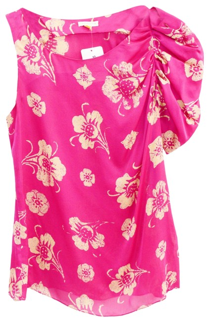 Item - Pink Floral One Shoulder Silk #135-186 Blouse Size 2 (XS)