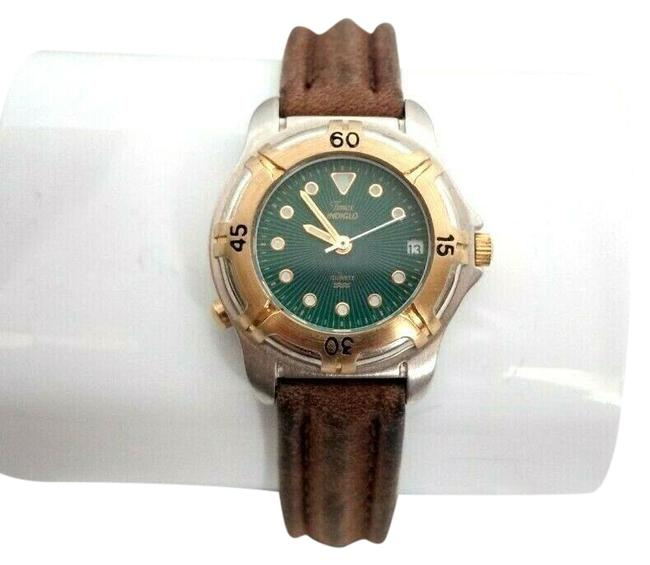 Item - Green New Vintage 90's 1990s Wristwatch Brown Leather Band Dial Watch