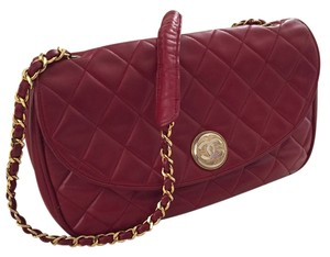 Chanel Vintage Redlambskin Lambskin Medium Shoulder Bag