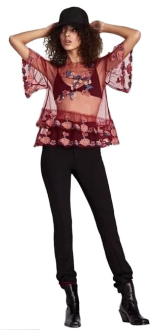 Item - Red Pink Women's Embroidered Tulle Burgundy 2731/263. Blouse Size 2 (XS)