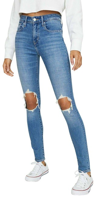 Item - Blue Distressed 721 High Rise Hole Ripped Knees Denim Skinny Jeans Size 24 (0, XS)
