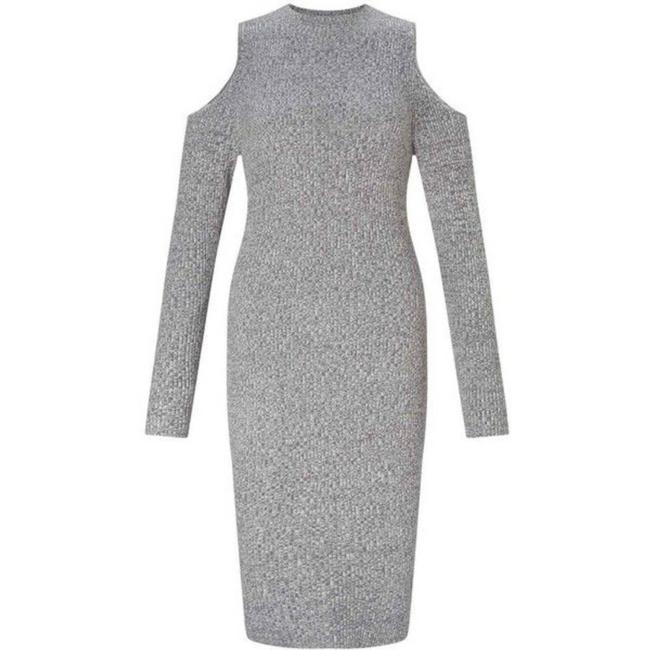 Item - Gray Cold Shoulder Ribbed Sweater Mid-length Night Out Dress Size 8 (M)