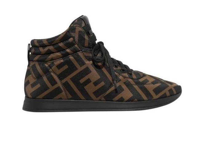 Item - Brown New Ff Zucca Motif Ff Logo Monogram Leather-trimmed High Top Sneakers Size EU 38 (Approx. US 8) Regular (M, B)