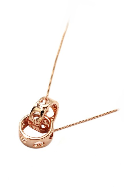 Item - Rose Gold Pierced Circle Heart Clavicle Necklace