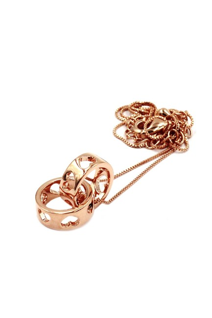 Item - Rose Gold 925 Pierced Circle Heart Clavicle Necklace