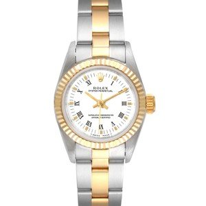 Item - White Oyster Perpetual Steel Yellow Dial Ladies 67193 Watch