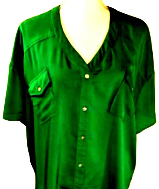 Item - Green Nwot Womens Blouse Short Sleeve Loose Button-down Top Size 4 (S)