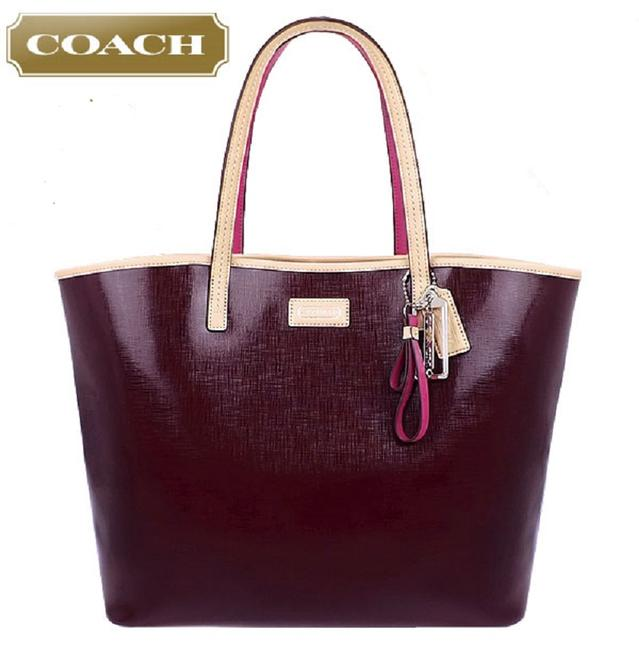 Item - Metro 2 Drk Burgundy/Natural Tan/Pink Genuine Leather Tote