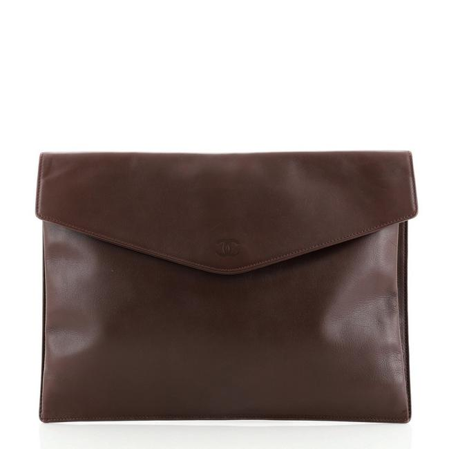 Item - Vintage Envelope Pouch Leather Medium Clutch