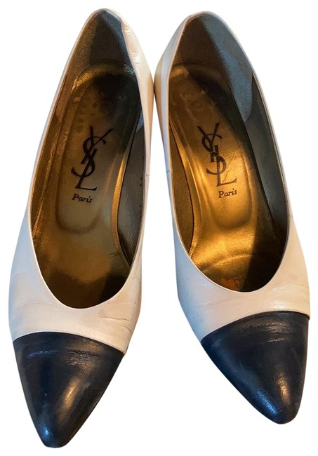 Item - White and Blue Ysl Pumps Size US 5.5 Regular (M, B)