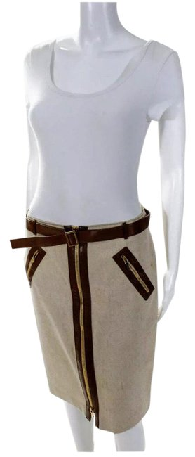 Item - Cream/Brown Leather Trimmed Pencil Skirt Size 10 (M, 31)