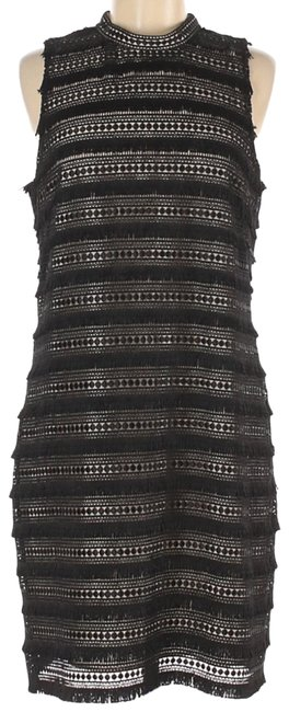 Item - Black Embroidered Sheath Mid-length Cocktail Dress Size 10 (M)