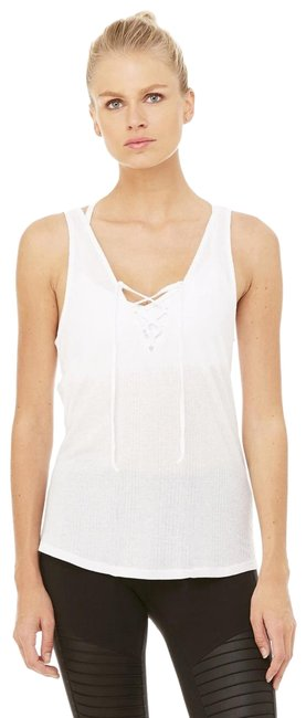 Item - White Interlace Ribbed Lace-up Activewear Top Size 4 (S)