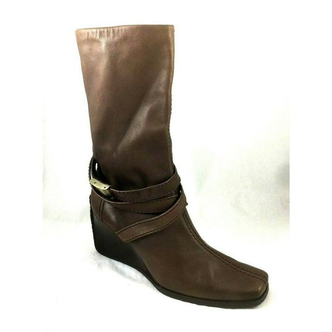 Item - Brown Lamb Leather Wedge Moto Taupe Boots/Booties Size US 9 Regular (M, B)