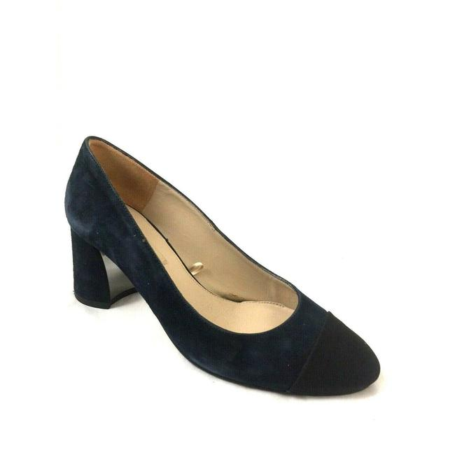 Item - Blue Suede Navy Black Cap Toe Block Pumps Size EU 36 (Approx. US 6) Regular (M, B)