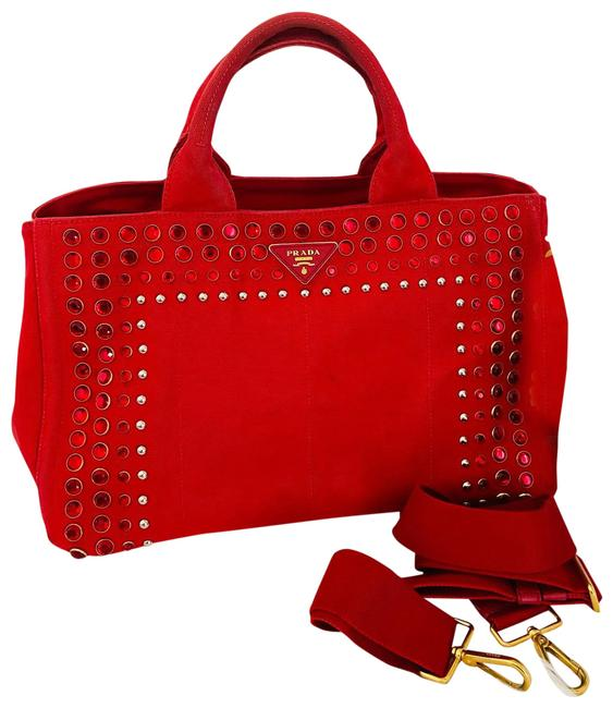 Item - Canapa Crystal Bling Red Canvas Satchel