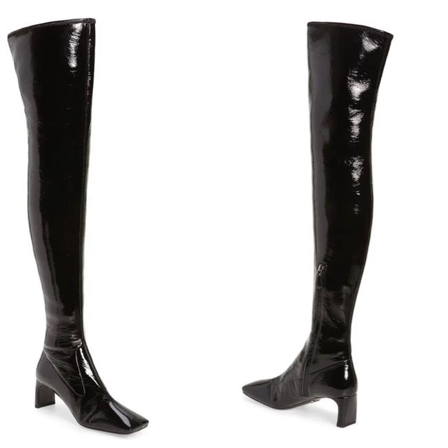 Item - Black Square Toe Faux Patent Leather Knee High Boots/Booties Size EU 41 (Approx. US 11) Narrow (Aa, N)