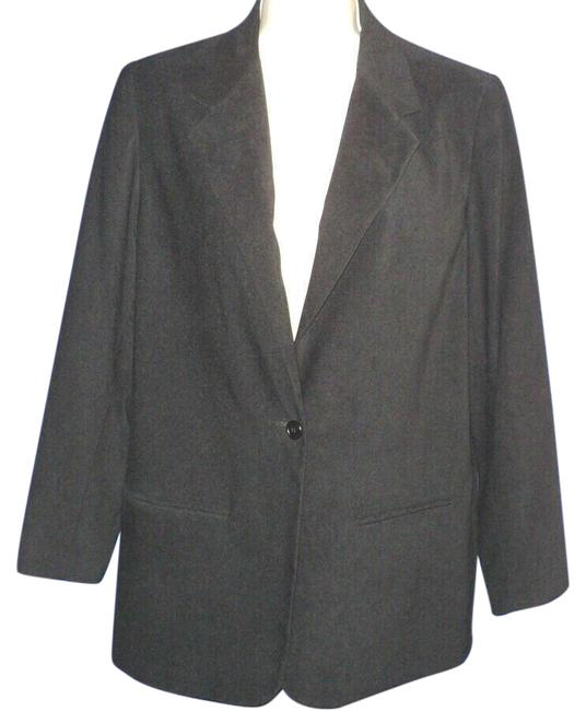 Item - Black Suede-look Polyester Notched Collar Buttoned Lined Blazer Size 10 (M)