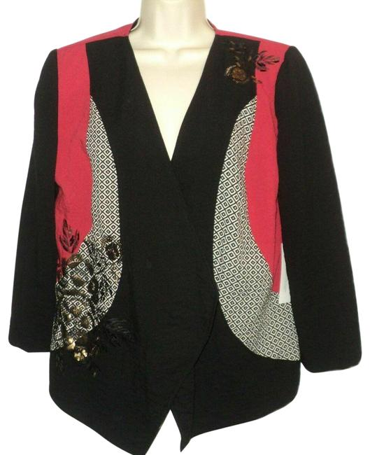 Item - Black Red Gray Gold Pieced Artisan Open Front Sequin Accents 3/4 Sleeves Blazer Size 8 (M)