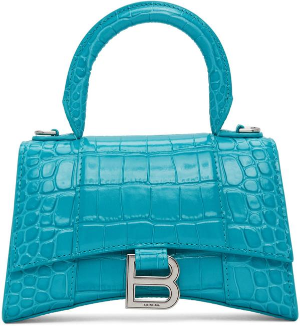 Item - Shoulder XS New Croc Hourglass Tote Purse Turquoise Blue Leather Cross Body Bag