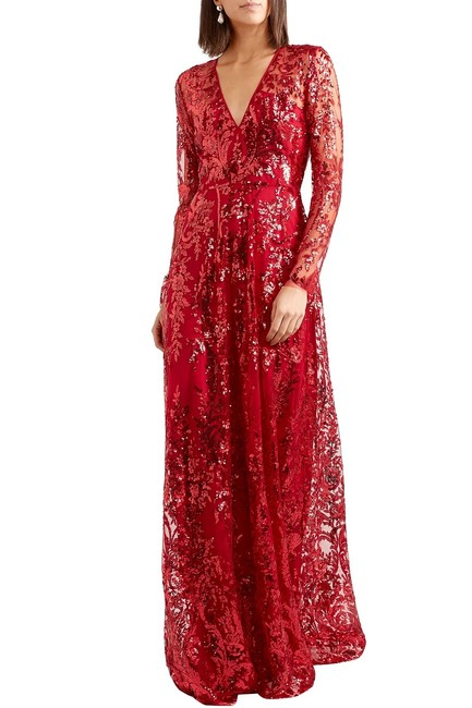 Item - Red Sequined Tulle Gown Long Formal Dress Size 6 (S)